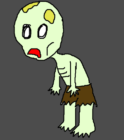 This zombie feels mildly inconvenienced by having been poisoned.