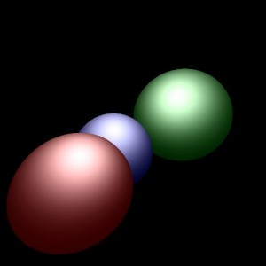 Three ray traced spheres in a variety of colors.