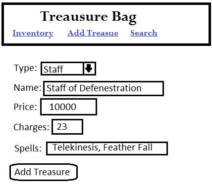 Mock-up of the Treasure Bag tresure input screen