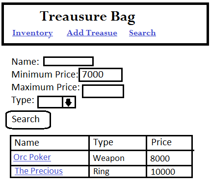 Mock-up of the Treasure Bag search screen